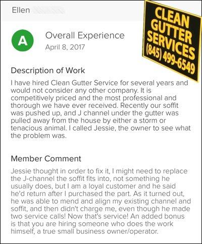 Ellen's Testimonial of 'Clean Gutter Service'