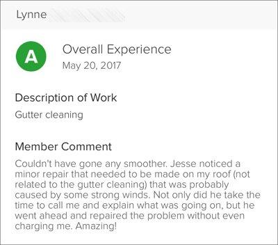 Lynn's Testimonial for Clean Gutter Service