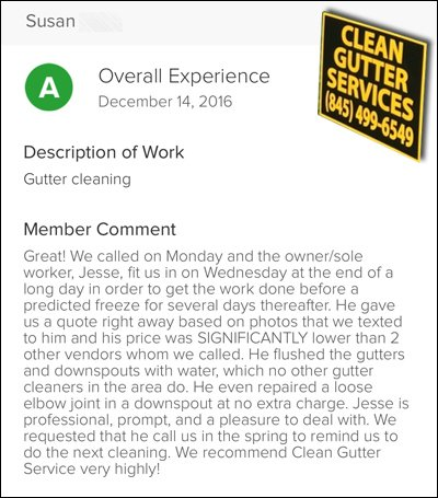 Susan's Testimonial of 'Clean Gutter Service'